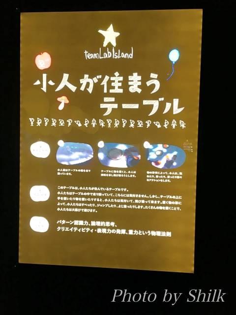 ららぽーと湘南平塚のチームラボ内:小人が住まうテーブル