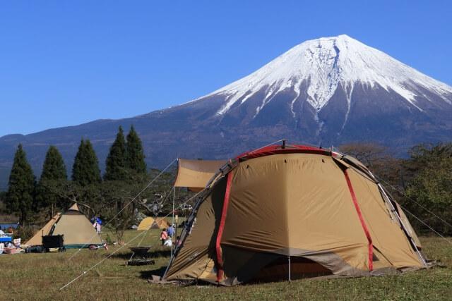富士山麓のキャンプ