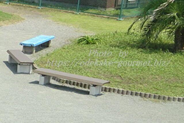 油壺マリンパーク内の芝生とベンチ